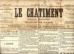 Commune De Paris - Chatiment - Journal Du 24 Mars 1871 -N° 19 - Situation Militaire - Vivres - - 1850 - 1899