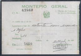Recibo De Crédito De Juros Do Montepio Geral De 1934. Banco. 1934 Montepio Geral Interest Credit Receipt. Bank. - Bank & Insurance