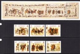 2014 Alderney Bayeaux Tapestry  Complete Set Of 6 + Souvenir Sheet MNH @ BELOW FACE VALUE - Alderney