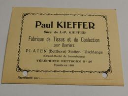Carte, Paul Kieffer, Tissus PLATEN Bettborn, Station Useldange 1940 - Private