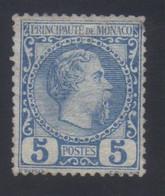 Monaco Prince Charles III 5c. Bleu N° 3* Neuf Avec Trace De Charnière - Nuovi
