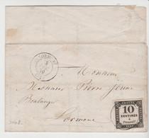 TAXE N° 2; 10c Litho / Avis Du Juge De Paix De Carbon Blanc De 1859 - 1859-1955 Covers & Documents