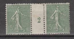 Semeuse Lignée 15c Vert-gris Type IV De  1922 - Millésimes