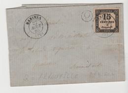 TAXE N° 3; 15c Typo / LAC De MARINES De 1865, BR Q = Arrouville Pour Marines - 1859-1955 Covers & Documents