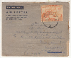 25c Negri Sembilan 1949 UPU Used Airmail, Air Letter, Malaya To India 1950, Globe, Map - Negri Sembilan
