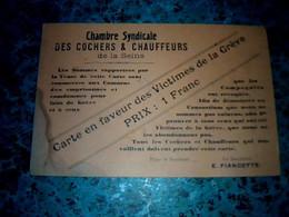 Vieux Papier Carte Syndicale Des Cochers Et Chauffeurs De La Seine En Faveur Des Victimes De La Grève Année 1912 - Other