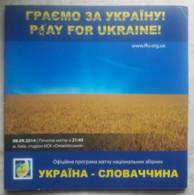 Football Program  Ukraine - Slovakia 2014 - Books