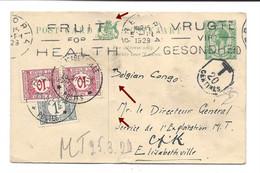 Timbres Taxe 1 Fr. + 2 X 10 C. Congo Belge,1929, Elisabethville Sur Carte Entier Postal Afrique Du Sud Pretoria - 1923-44: Covers