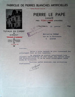 G 22  Courrier/facture / Document Fabrique De Pierres Blanches  à Pont L'abbé - Otros