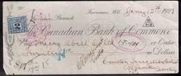 CANADA Revenue Stamp On 1927 Bank Cheque Victoria BC - Revenues