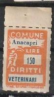 Anacapri. Marca Municipale (marca Comunale) Diritti Veterinari L. 150. Nuova. - Otros