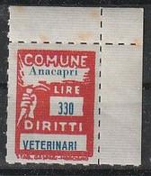 Anacapri. Marca Municipale (marca Comunale) Diritti Veterinari L. 330. Nuova. - Otros