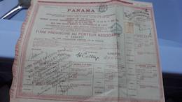 Action Ancienne CANAL DE PANAMA 1888 /1889  Titre Au Porteur Obligation De 60F Avec Vignette De Controle - Other