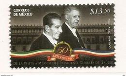 Général De Gaulle & Président Mexicain Lopez Mateos (50 Ième Anniversaire Visite D'Etat) Un T-p Neuf ** Année 2014 - De Gaulle (General)