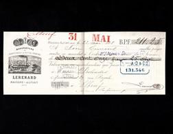 1888 - MAISONS ALFORT  - Lettre De Change Illustrée 1888 - Manufacture De Caoutchouc & Gutta-Percha - LERENARD - Letras De Cambio