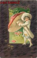 "CARTE GAUFREE EMBOSSED "" CHAMPIGNONS ""  MUSHROOM ENFANT FANTAISIE 1900 - Unclassified"