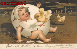 BELLE CPA GAUFREE : ENFANT BEBE POUSSIN POULE HUMOUR EMBOSSED ILLUSTRATEUR BABY 1900 - Humorous Cards