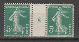 Semeuse Grasse 5c Vert De 1918 Papier GC - Millésimes