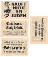 RARE SET 4 WW2 Germany Nazi NSDAP Judaica Anti-Jewish Propaganda FORGERY Overprint On Genuine 1923 Banknote EF+ - Other
