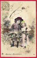 """CPA Charmant Couple D' Enfants """"Joyeux Anniversaire"""" - Portraits"""