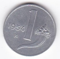 Italie 1 Lira 1954 Balance  , En Aluminium , KM# 91 - 1 Lira