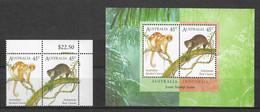 Australia 1996 MiNr. 1540 - 1541 (Block 21) Australien  Mammals Cuscus Joint Issue  INDONESIA  2v + S/sh MNH**  5.00 € - Mint Stamps
