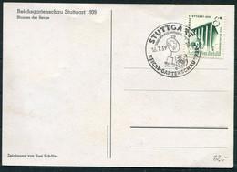 1939 (16th July) Germany Stuttgart Reichs Gartenschau Blumen Der Berge Flowers Postcard - Storia Postale