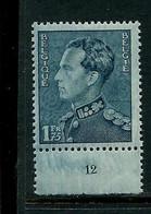 N° 430b Bleu Vert   (**) Planche  12 - 1936-1951 Poortman