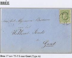 "N° 30 Op Brief Met Centraal Gestempelde Zegel  DC  "" BRÉE "" - 1869-1883 Leopold II"