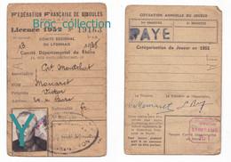 Lyon, Montchat, Licence 1952 De Victor Monaret, Fédération Française De Boules, Boule Lyonnaise, Pétanque - Identified Persons