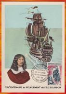 CM-Carte Maximum Card #REUNION-CFA-1965 (N° Yv 365)-Bateaux,ships,voilier,Segleschiff,sailing-ship ,Ile Bourbon,St Paul - Ships