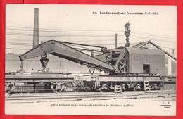 RAILWAY PLM CHEMIN DE FER    STEAM LOCOMOTIVE   RAILWAY ENGINE  CRANE  GRUE ROULANTE FRANCE  PARIS - Trenes