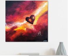 """Toile Peinture Acrylique Originale """"Le Coup De Foudre De Cupidon"""". Signée. Originale Thème Coeur, Amour, Rouge - Acrilicos"""