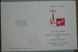 Document Illustré Edouard BERCK Tampons Premier 1er Jour 1965 Paris, Premier Satellite Français A1 Fusée Diamant - 1960-1969