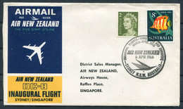 1966 Australia Sydney - Singapore Air New Zealand First Flight Cover - Covers & Documents