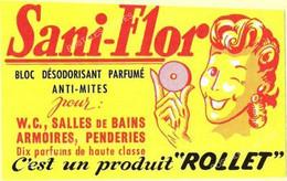Bloc Désodorisant Parfumé Anti-Mites Sani-Flor Pour WC Armoires Et Penderie Produit Rollet Carte échange - Advertising