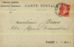 Carte D'avis De Passage Du Releveur De La Compagnie Parisienne De Distribution D'Electricité Section Parmentier 1926 - Advertising