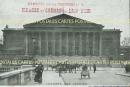 Repiquage Publicitaire Cirages Et Crêmes Du Lion Noir Sur CP Chambre Des Députés - Advertising