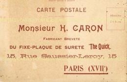 """Carte Commerciale Du Fixe-Plaque H.Caron """"The Quick"""" Rue Saussier-Leroy à Paris XVII - Advertising"""