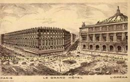 Carte Publicitaire Illustrée Du Grand Hôtel Place De L'Opéra à Paris Ed.Bouclet & Barri - Advertising