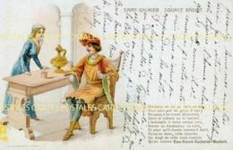 Carte Publicitaire Illustrée D'un Troubadour Et Sa Belle Vantant La Source Badoit De St Galmier - Advertising
