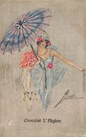 Chocolat L'Aiglon - Très Belle Dame Illustrée Burt ? Ombrelle Art Nouveau Wenau Brabant - Advertising