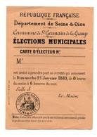 Carte D'électeur élections Municipales Département De Seine-&-Oise Commune De St-Germain De La Grange En 1883 - Unclassified
