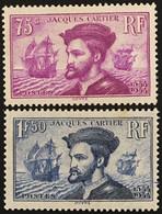 YT 296-297 (*) MH 1934 Oblitérés 4 Centenaire Jacques Cartier Au Canada (côte 82 Euros) – Flo - Nuevos