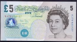 UK Great Britain 5 Pounds 2002 UNC P- 391c - 5 Pounds