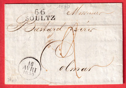 MARQUE 66 SOULTZ HAUT RHIN POUR COLMAR 1830 INDICE 14 - 1801-1848: Precursors XIX