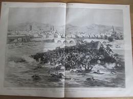 Gravure 1880  ESPAGNE  La Catastrophe De LOGRONO    L Ebre Le Pont Volant Effondrement Des Pontons - Unclassified