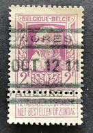 Leopold II Grove Baard 80 - 2fr Gestempeld SPOORWEGSTEMPEL TONGRES VOYAGEURS - 1905 Barba Grossa