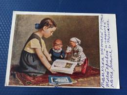 USSR PROPAGANDA  Postcard -girl Reading - 1952 - Doll - Russia