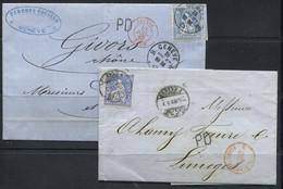 SUISSE - N° 46 ( 2 NUANCES) / 2 LETTRES DE 1867 & 1868 , PEU-ETRE ZUMSTEIN 41b - LES DEUX SUP - Covers & Documents
